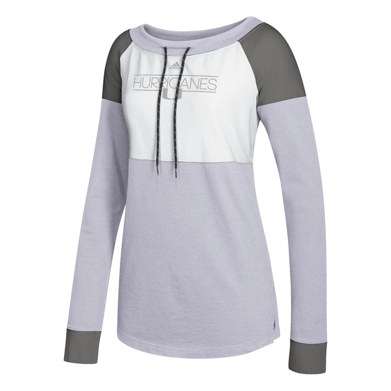 Miami Hurricanes adidas 2018 Women's Slim Dassler L/S Shirt - Heathered Grey