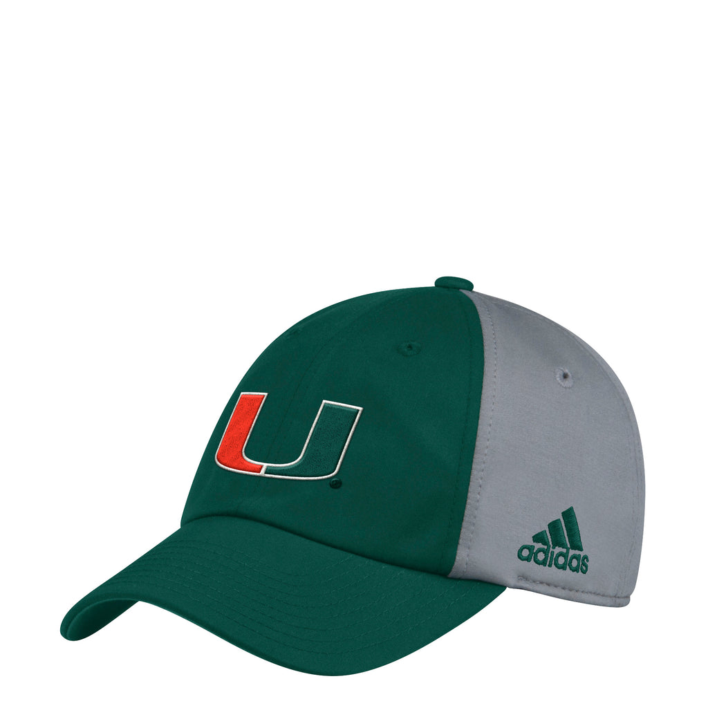 0e1716810e0a5 ... Miami Hurricanes adidas 2018 Spring Game Two Tone Adjustable Slouch Hat  - Green Gray ...