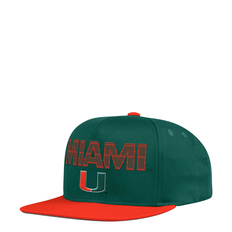 Miami Hurricanes adidas Miami U Flat Brim Snapback Hat - Green/Orange