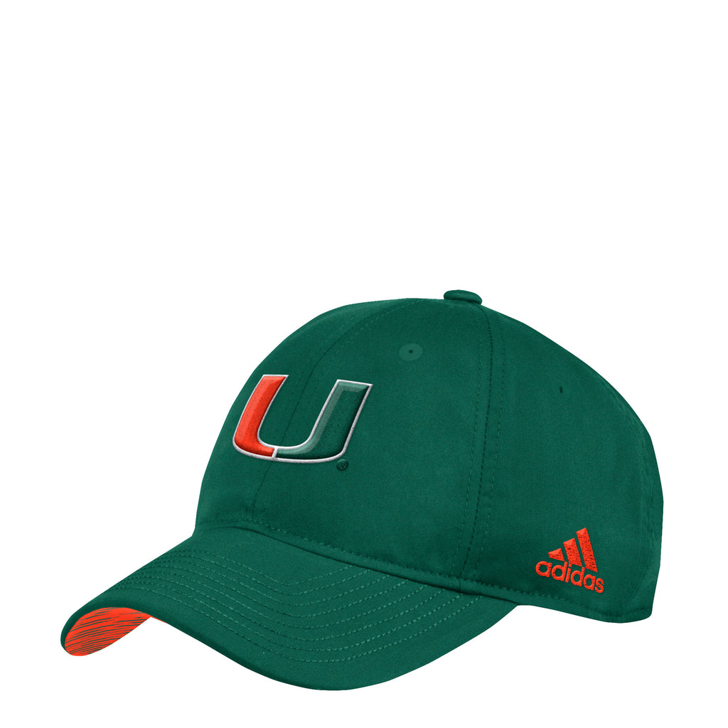 Miami Hurricanes adidas 2018 Coaches Adjustable Slouch Hat - Green