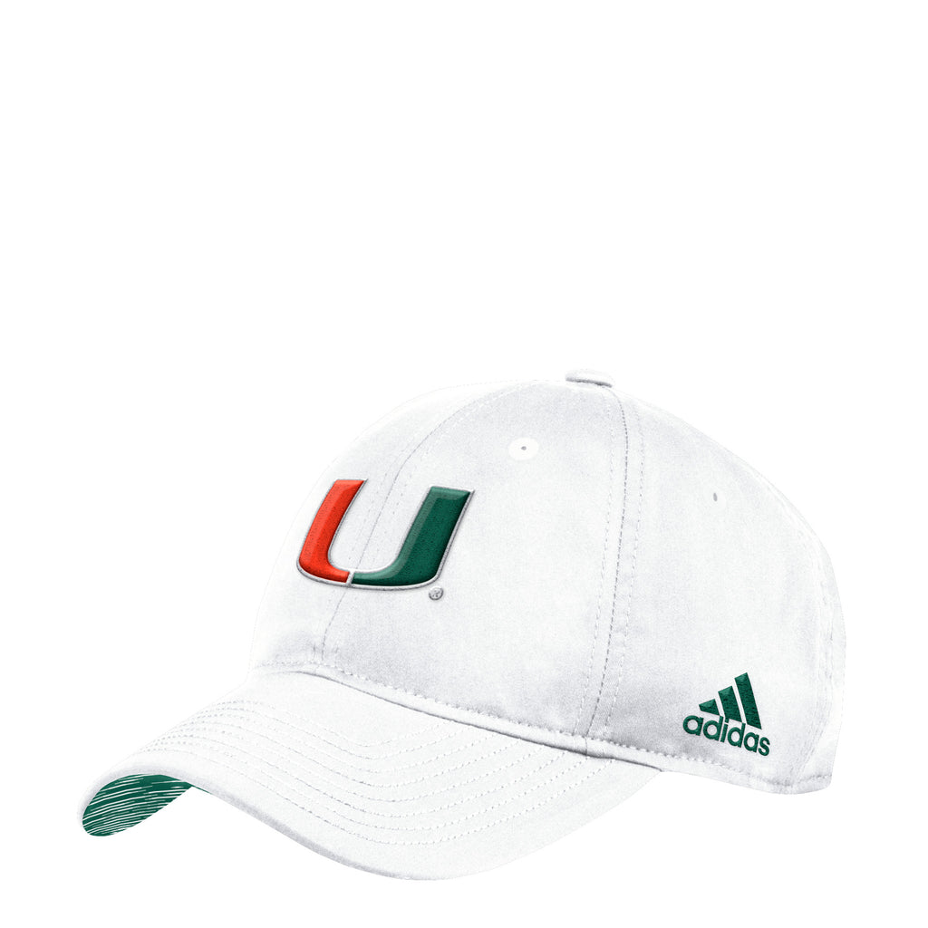 81947690bc4f0 Miami Hurricanes adidas 2018 Coaches U Adjustable Slouch Hat - White