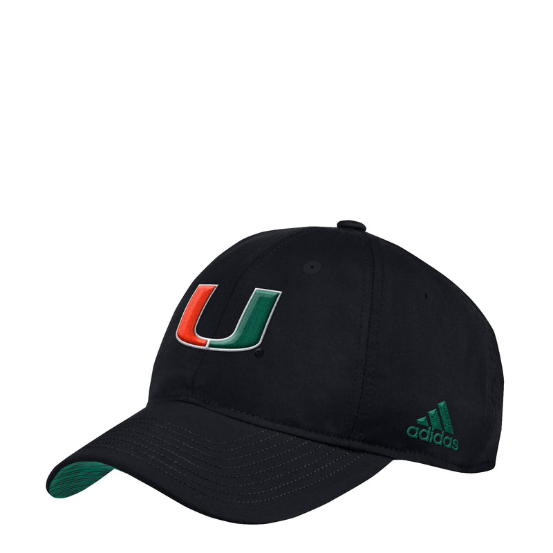 Miami Hurricanes adidas Coaches Adjustable Slouch Hat - Black