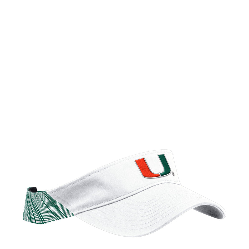 Miami Hurricanes adidas 2018 Coaches U Adjustable Visor - White/Green