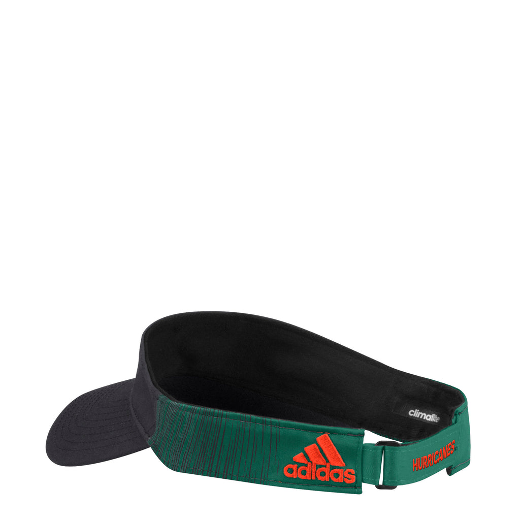 fd47aff058 Miami Hurricanes adidas 2018 Coaches U Adjustable Visor - Black Green ...