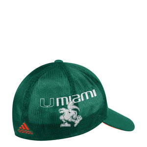 Miami Hurricanes adidas 2018 Sebastian Structured Flex 3-Stripe Applique Hat - Green