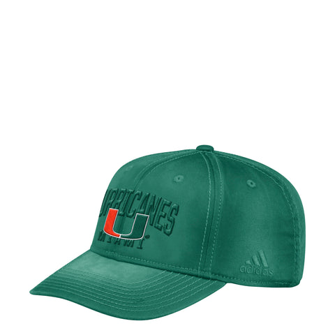 Miami Hurricanes adidas 2018 Structured Flex Heavy Washed Cotton Hat 8e0bb810e6e
