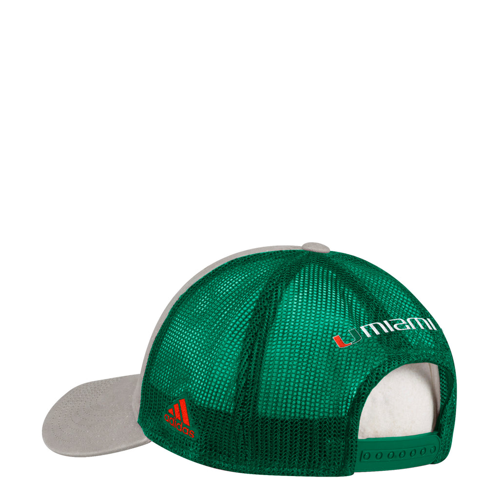 d4c7d5f2612cb Miami Hurricanes adidas 2018 Adjustable Slouch Meshback Overdye Print Snapback  Hat ...