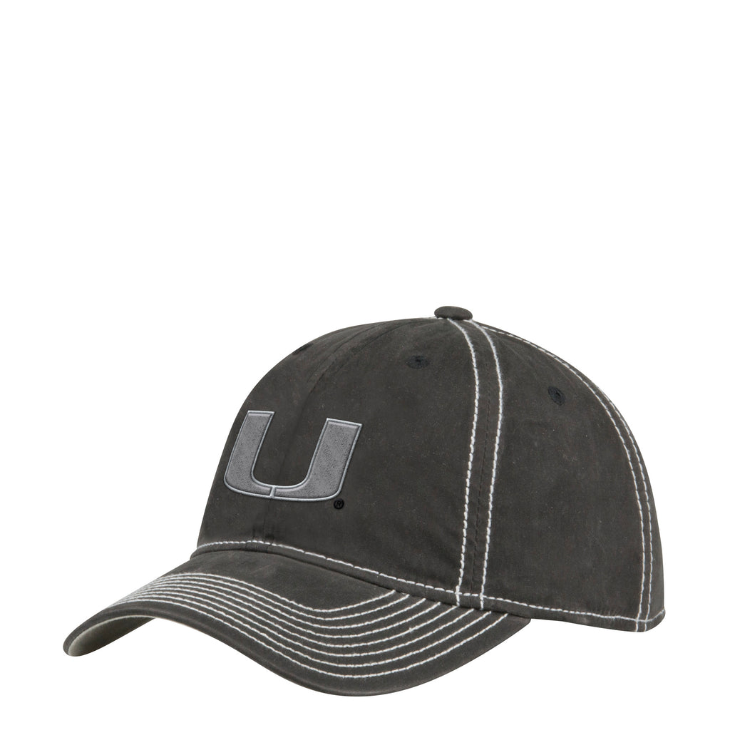 e30d1fc212f2d Miami Hurricanes adidas 2018 Adjustable Slouch Waxed Canvas Hat - Black
