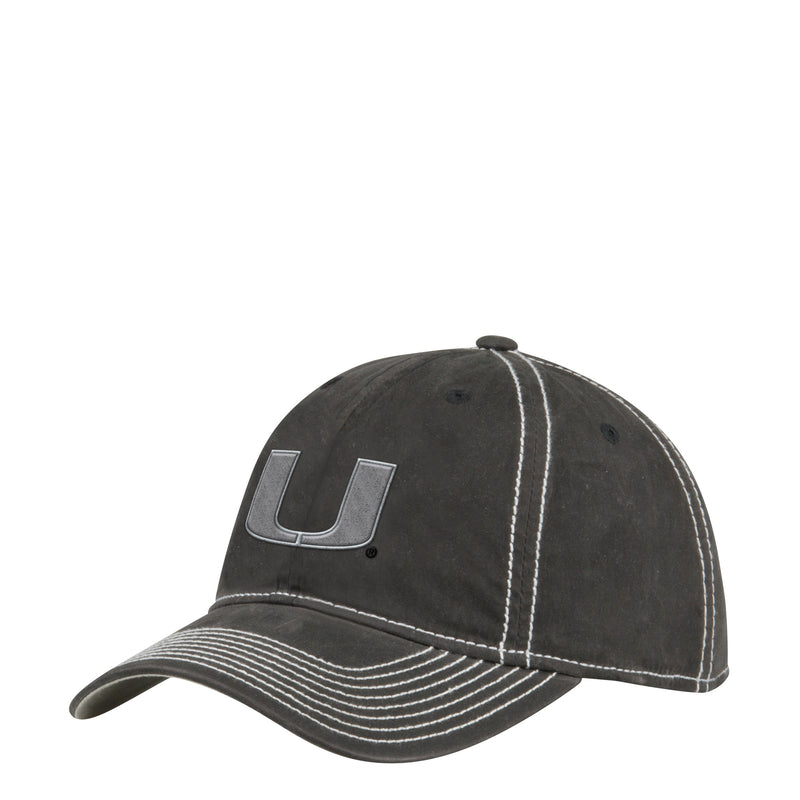 Miami Hurricanes adidas Adjustable Slouch Waxed Canvas Hat - Black