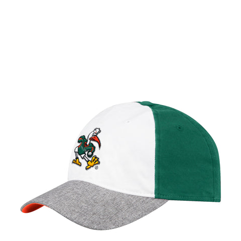 finest selection c638f f5c1c ... get miami hurricanes adidas 2018 flex slouch heathered grey hat white  green c87bf 20c0d