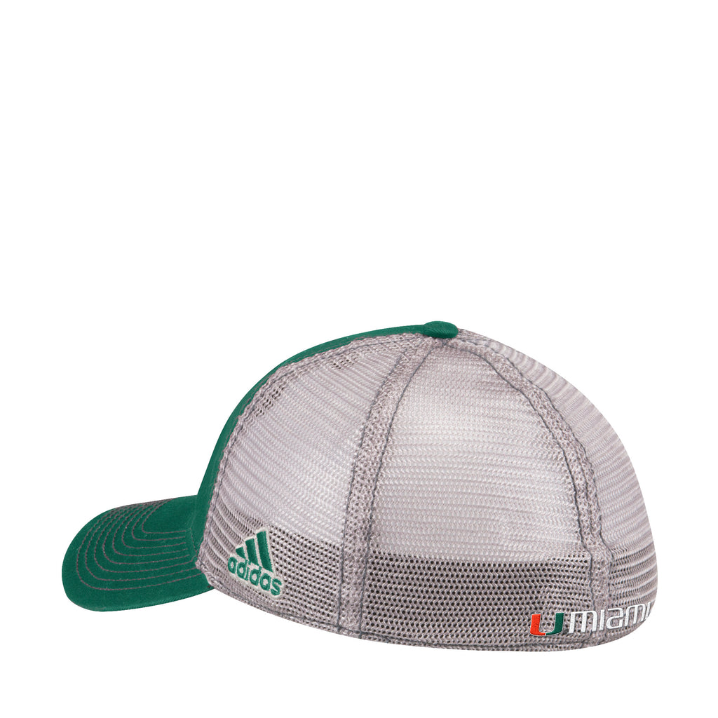 Miami Hurricanes adidas 2018 Flex Slouch Meshback Hat Green/White