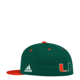 Miami Hurricanes adidas 2018 FVF Pique Mesh/Ply Dobby Climalite Hat - Green/Orange