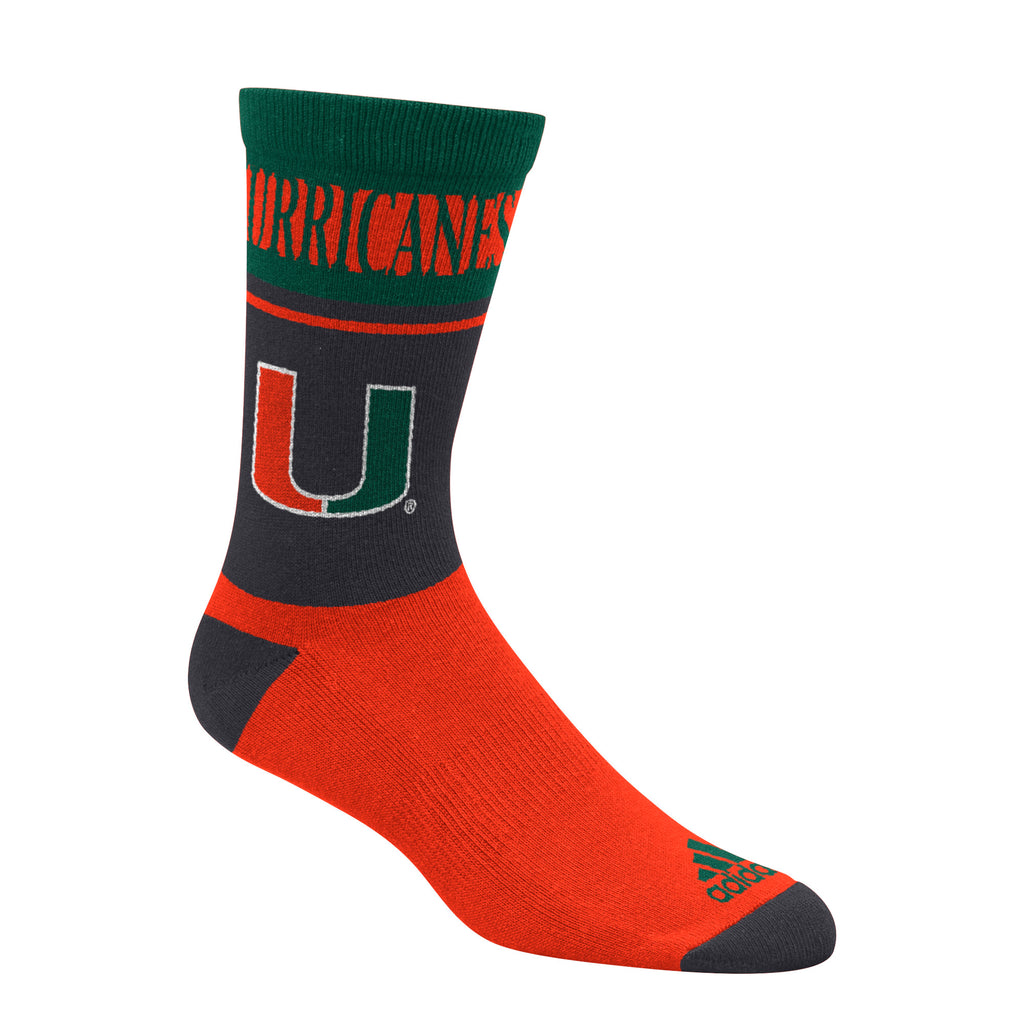 Miami Hurricanes adidas 2018 Hurricanes U Socks Green/Orange