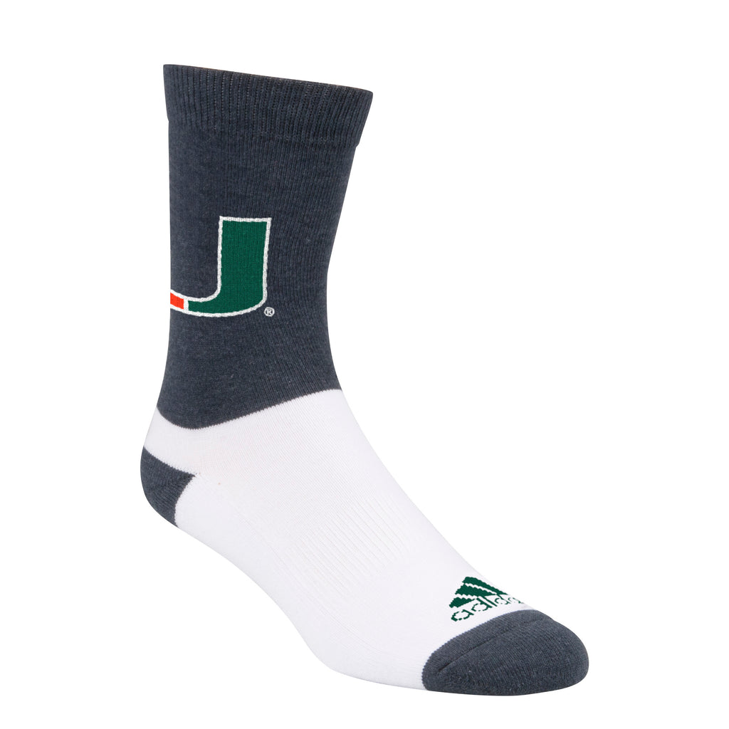 Miami Hurricanes adidas 2018 U Socks Grey/White