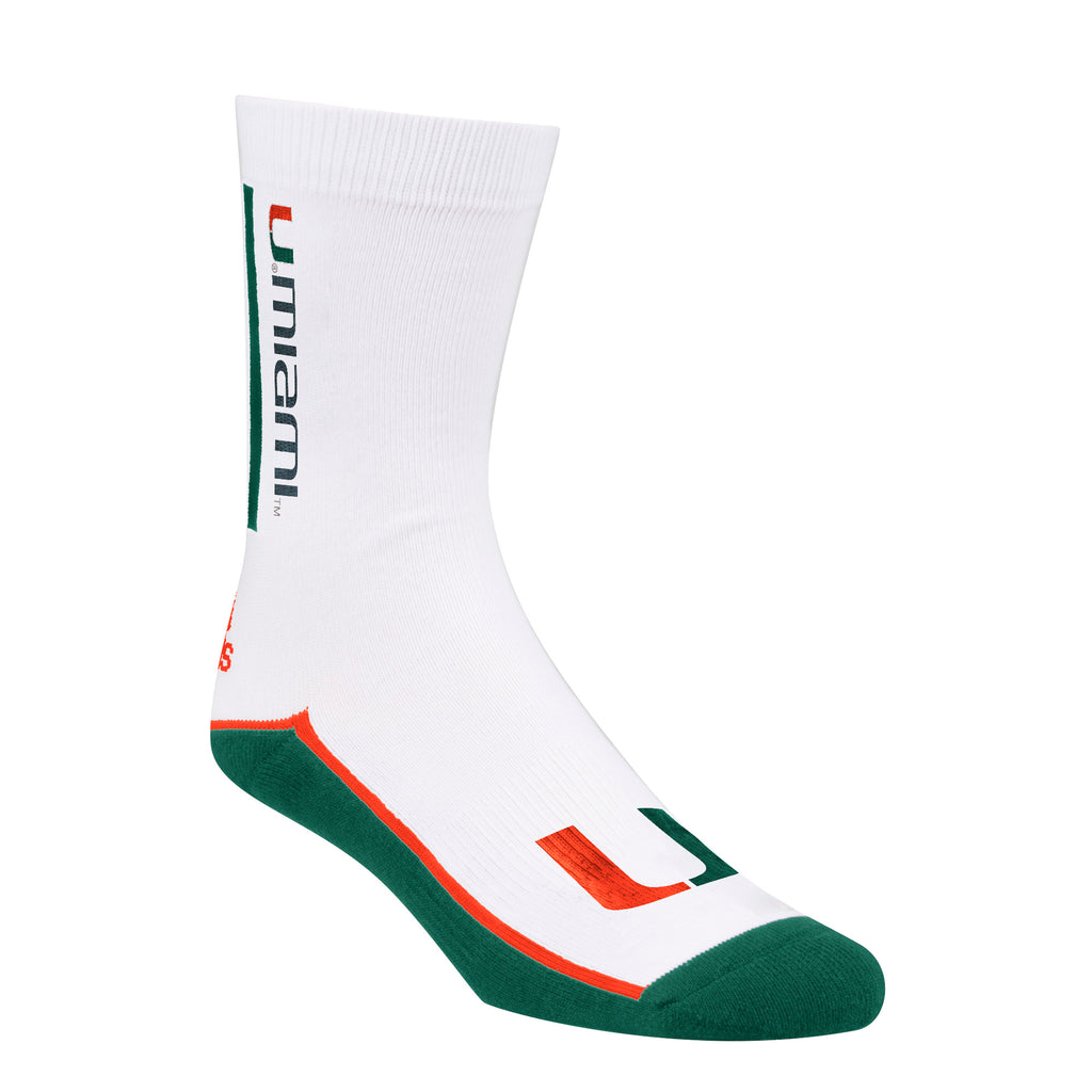 Miami Hurricanes adidas 2018 U Miami Socks - White