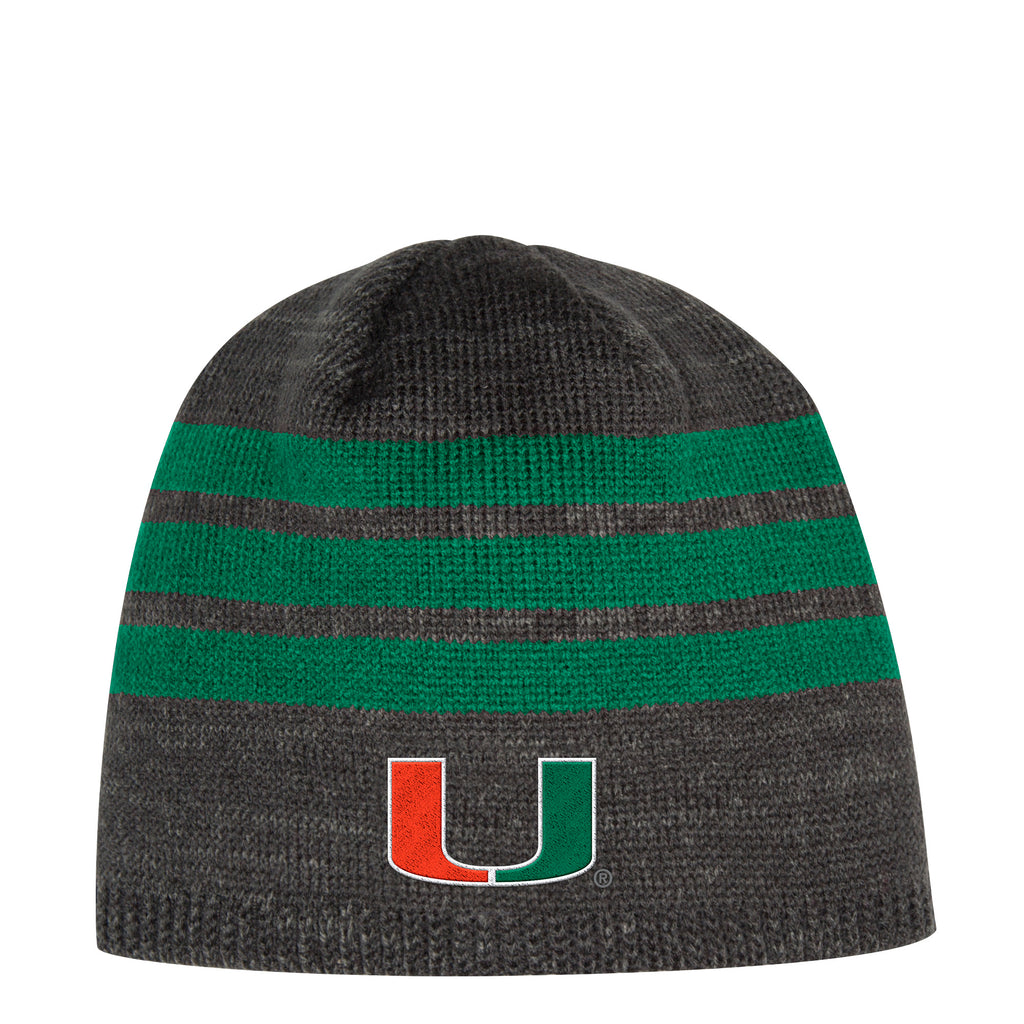 Miami Hurricanes adidas 2018 Green 3-Stripe Beanie - Gray – CanesWear at  Miami FanWear 717c03d004a
