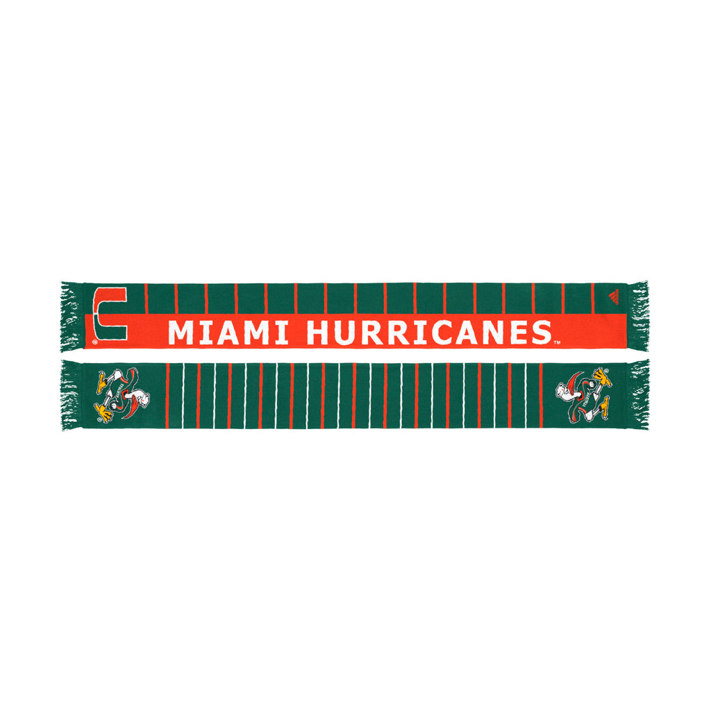 Miami Hurricanes adidas 2018 Two sided Scarf - Green