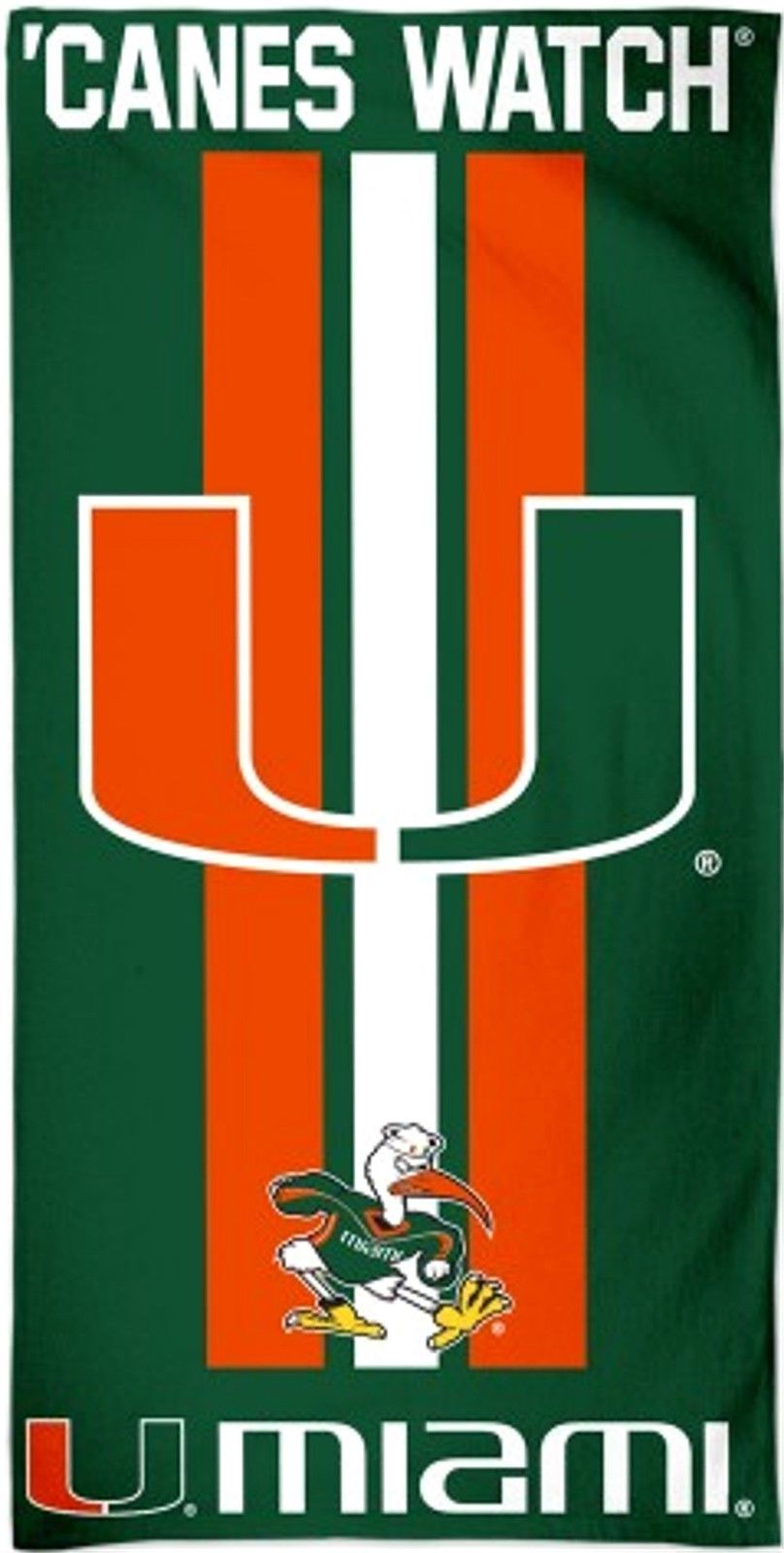 "Miami Hurricanes 'Canes Watch Beach Towel - 30"" x 60"""