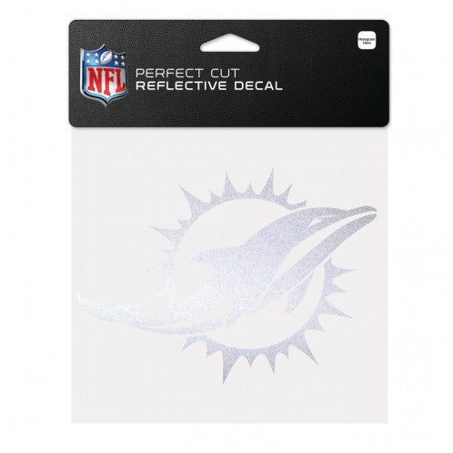 "Miami Dolphins Reflective Perfect Cut Decal - 6"" x 6"""
