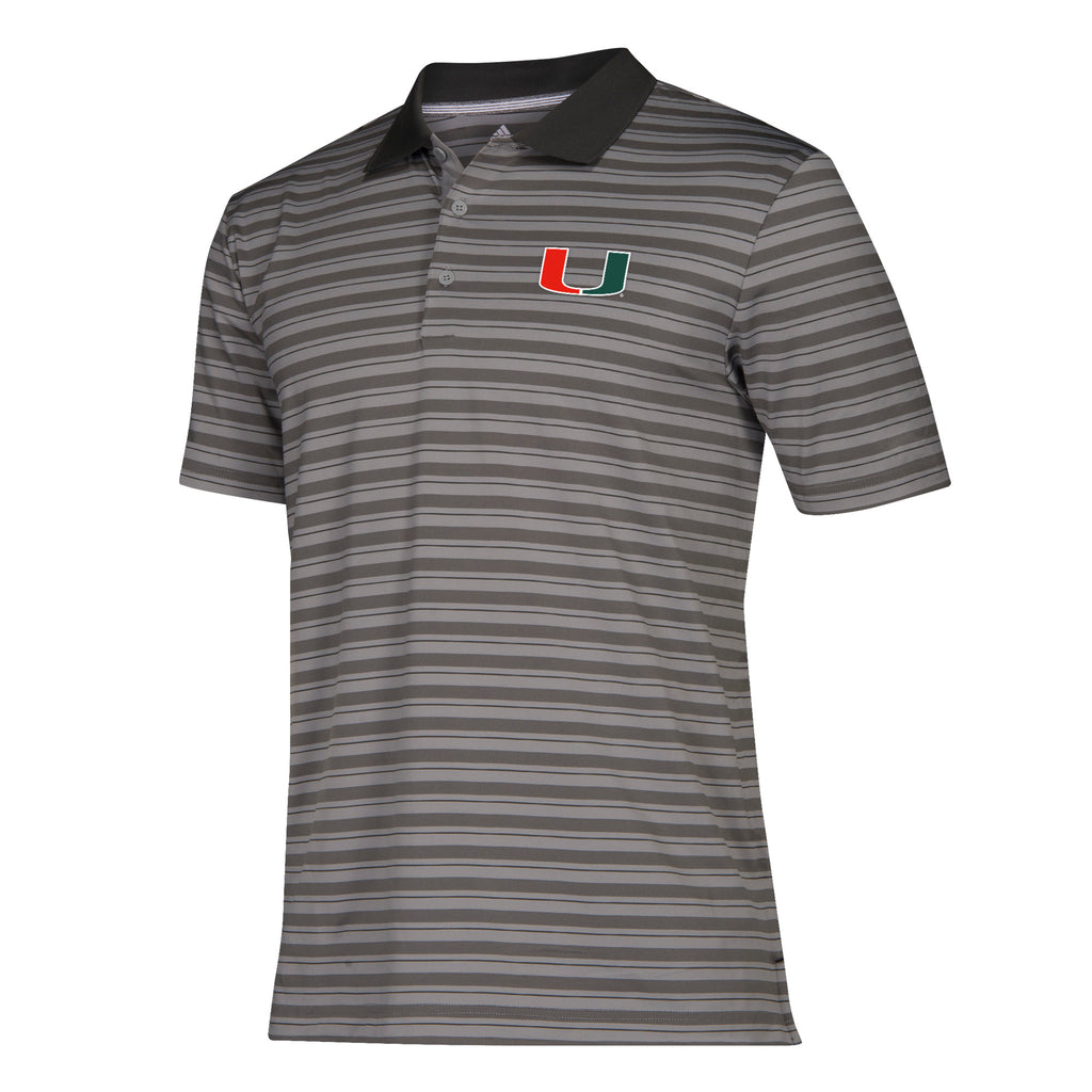 Miami Hurricanes adidas 2019 Ultimate 365 3 Stripe Sideline Polo
