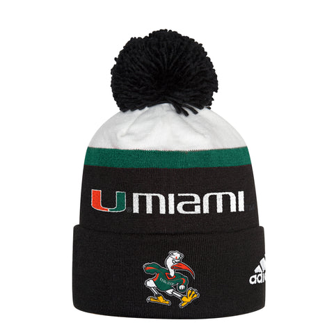 41cbabdb31422 Miami Hurricanes adidas 2018 Cuffed Pom Pom Beanie - Black. $ 25.00. Miami  Hurricanes adidas Women's Yoga Capri Leggings Black