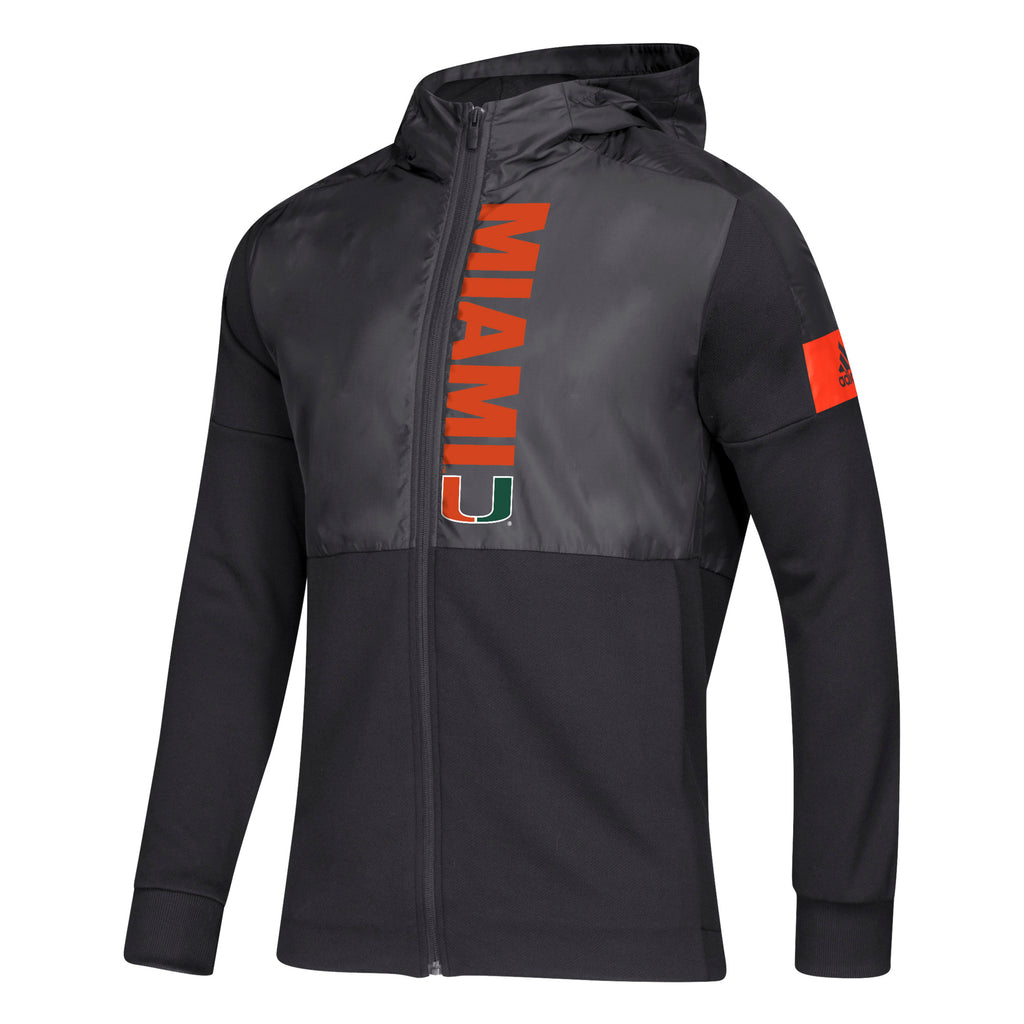 Miami Hurricanes adidas 2019 Game Mode Full Zip Jacket - Black