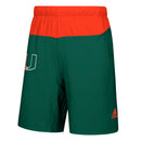 Miami Hurricanes adidas Game Mode Woven Shorts - Green/Orange