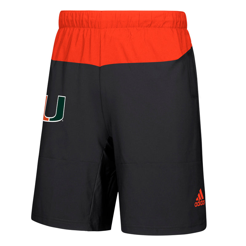 Miami Hurricanes adidas Game Mode Woven Shorts - Black/Orange