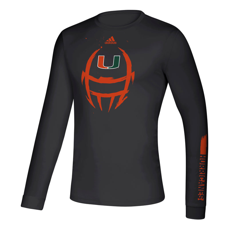 Miami Hurricanes 2019 Locker Football Helmet Creator Long Sleeve T-Shirt - Black