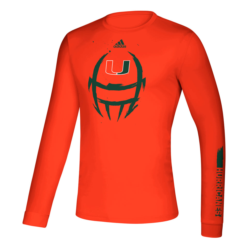 Miami Hurricanes 2019 Locker Football Helmet Creator Long Sleeve T-Shirt - Orange