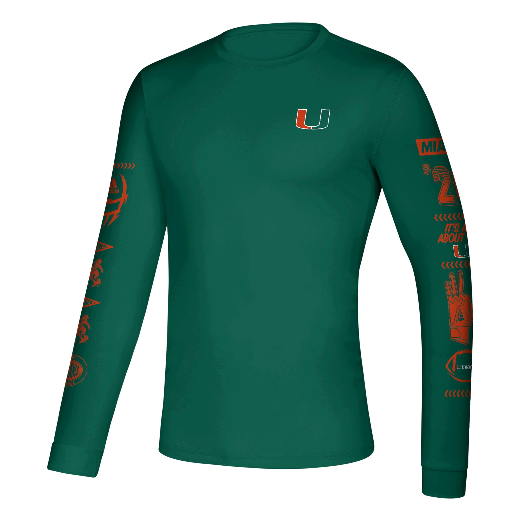 674947be Miami Hurricanes 2019 Speed Sleeves Creator Long Sleeve T-Shirt - Green