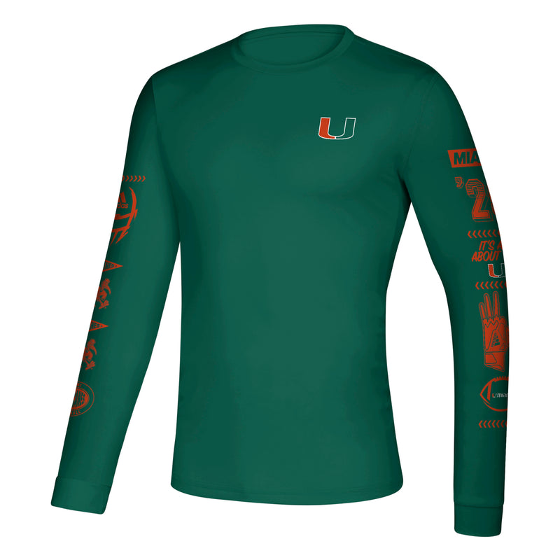 Miami Hurricanes Speed Sleeves Creator Long Sleeve T-Shirt - Green