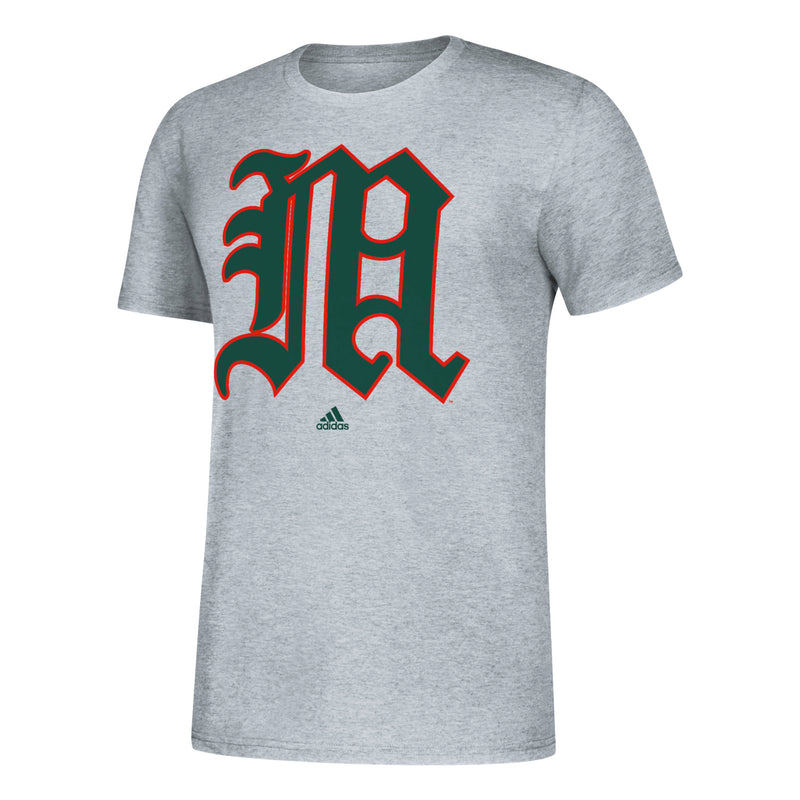 Miami Hurricanes 2019 Vintage Vault Old English M Amplifier T-Shirt - Grey