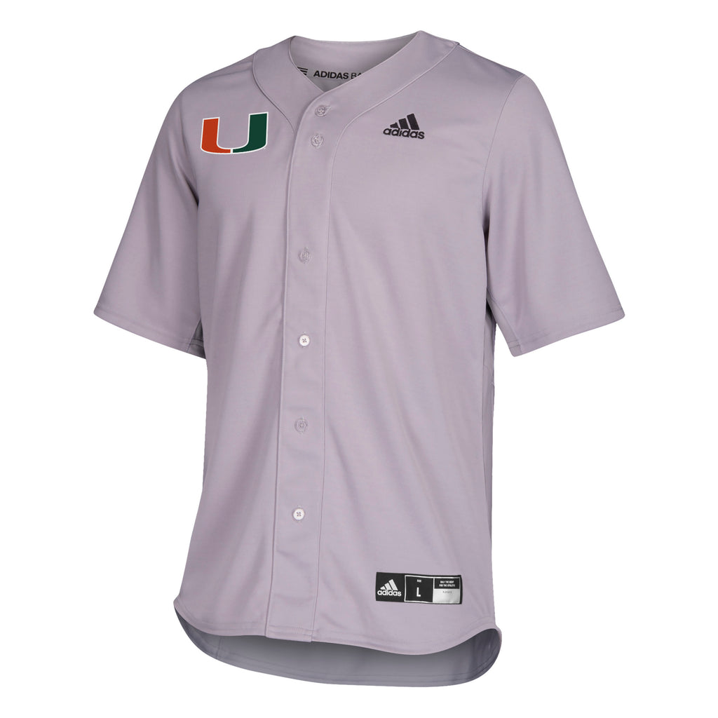 Miami Hurricanes adidas 2019 Full Button Down Baseball Jersey - Gray