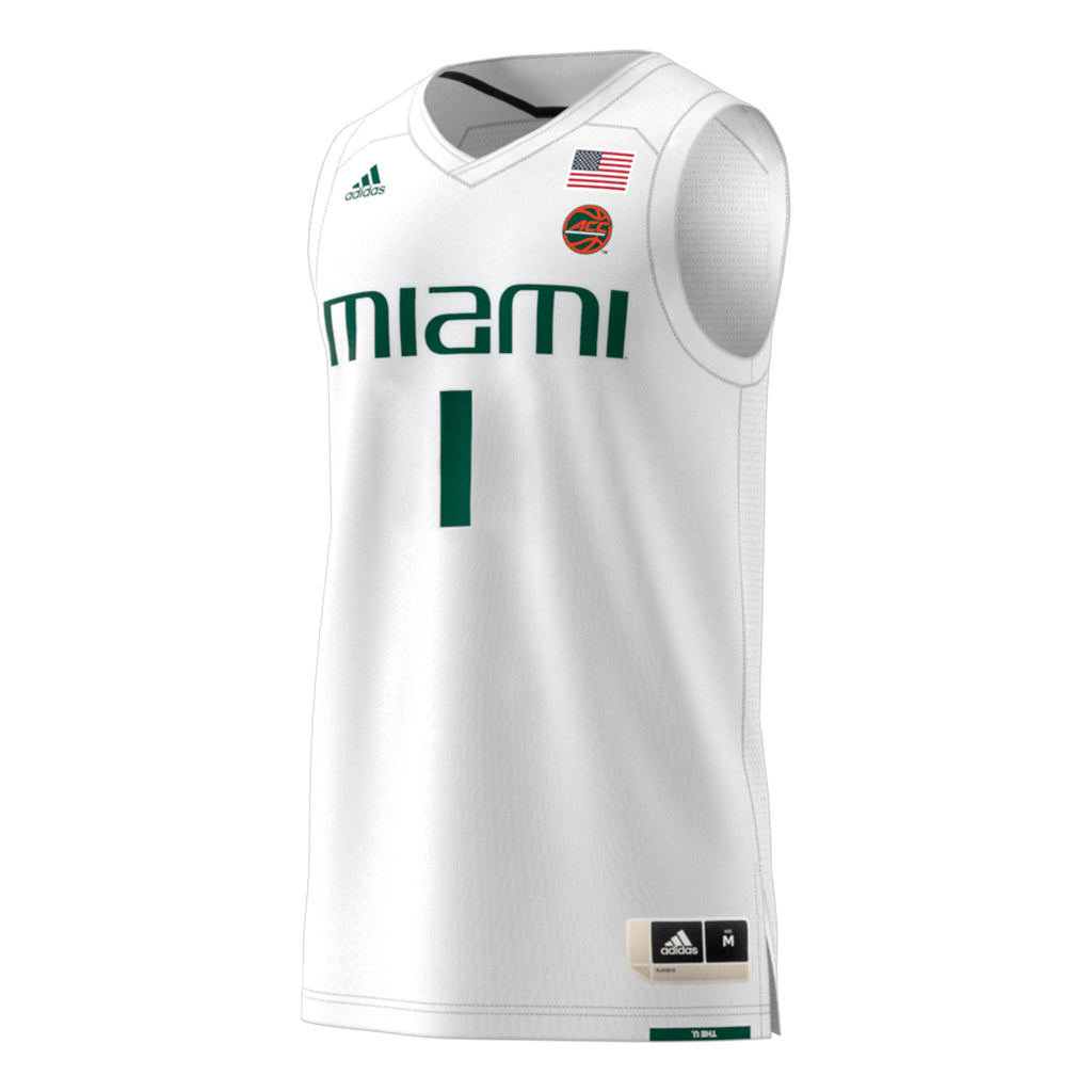 Miami Hurricanes adidas 2018 Basketball Swingman Jersey #1 - White
