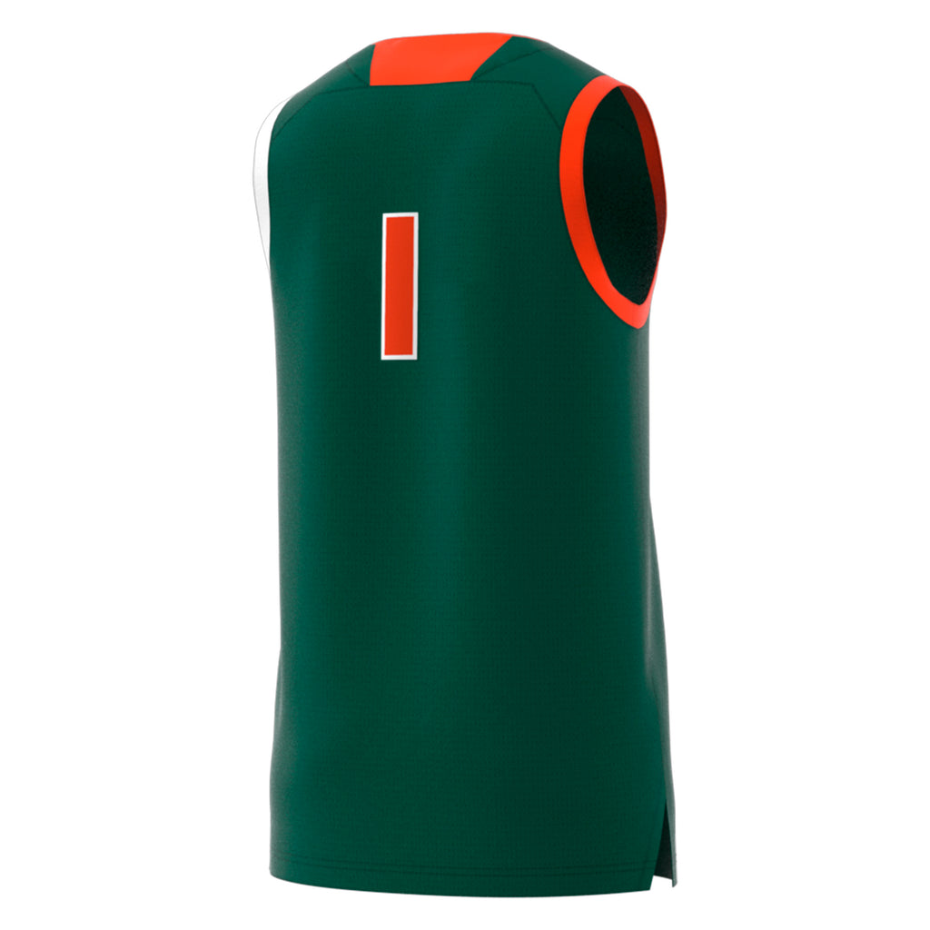 Miami Hurricanes adidas Basketball Swingman Jersey #1 - Green
