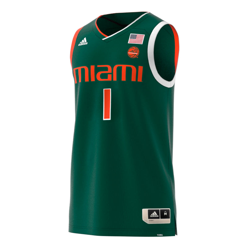 Miami Hurricanes adidas 2018 Basketball Swingman Jersey #1 - Green