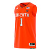 Miami Hurricanes adidas 2018 Basketball Swingman Jersey #1- Orange
