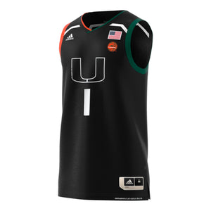 Miami Hurricanes adidas 2019 Basketball Swingman Jersey #1 - Black