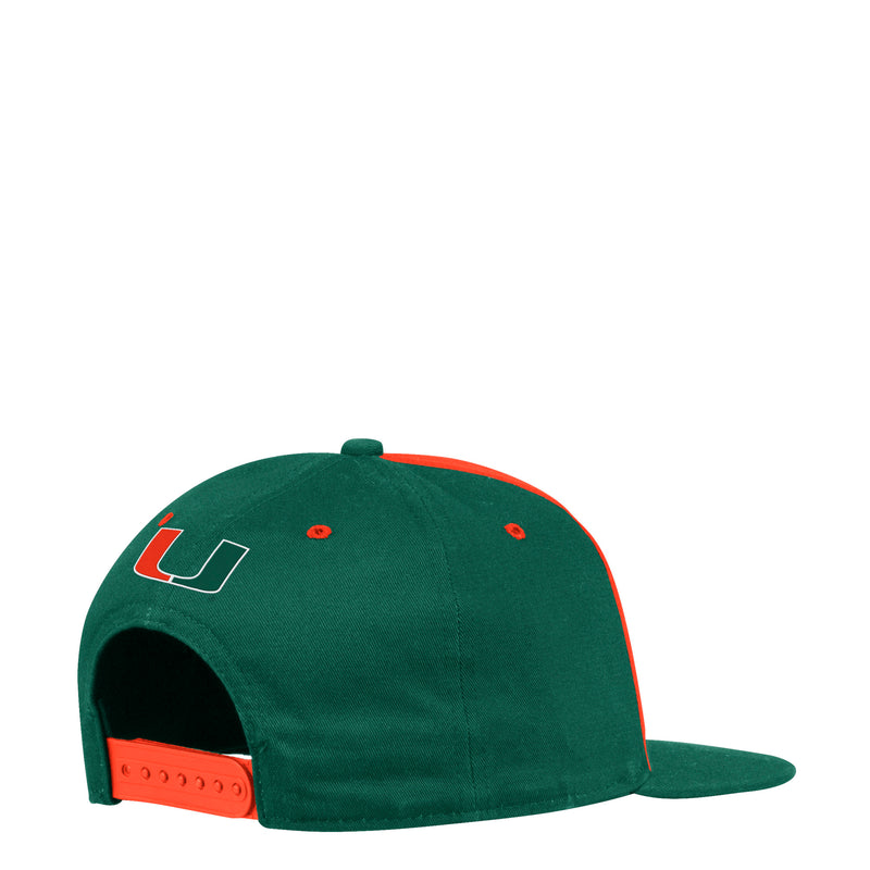 Miami Hurricanes adidas Wordmark Adjustable Snapback - Orange/Green