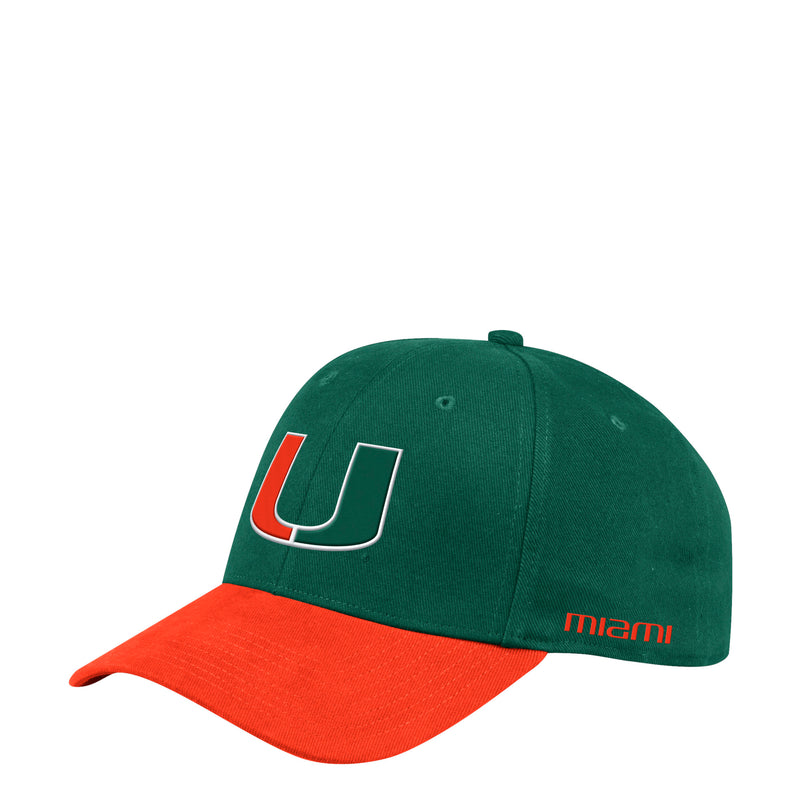 Miami Hurricanes adidas 2019 Coach Structured Hat - Green/Orange Bill