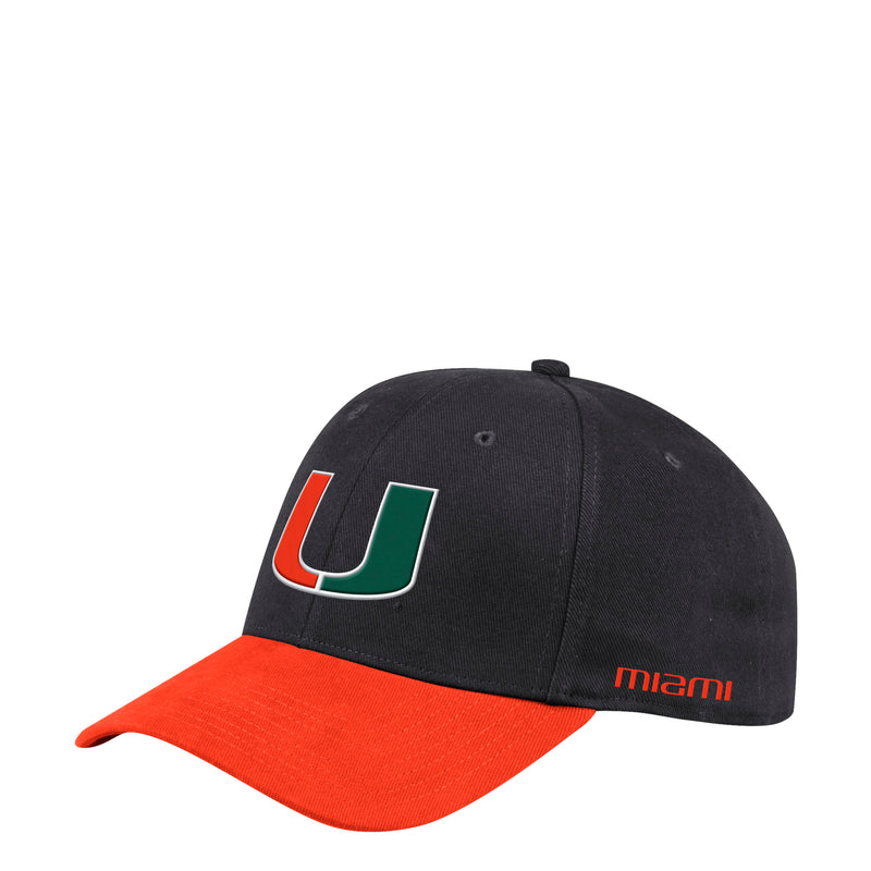 Miami Hurricanes adidas Coach Structured Flex Hat - Black
