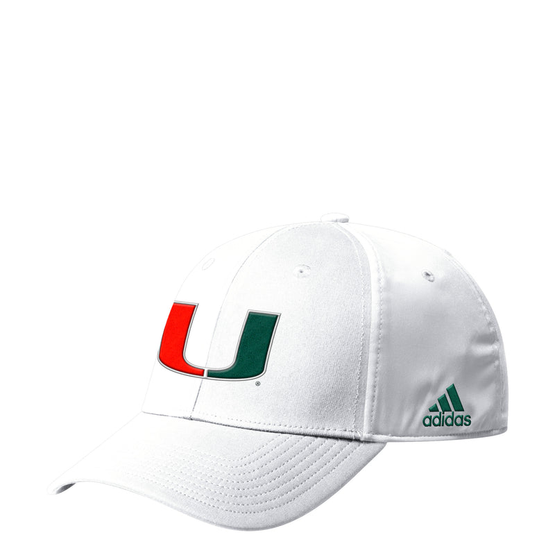 Miami Hurricanes adidas 2019 Coaches Flex Hat - White