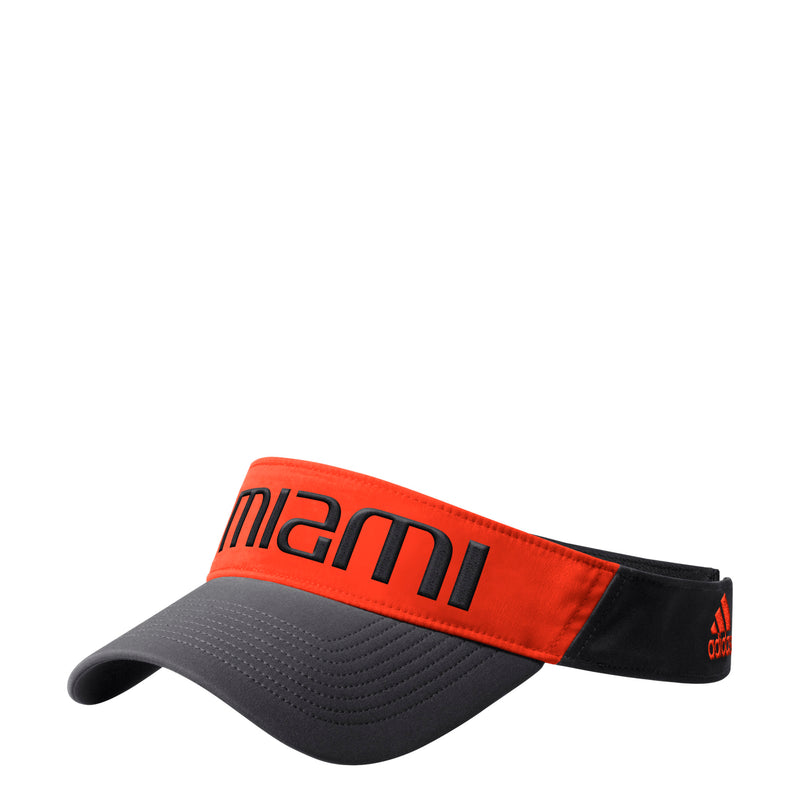 Miami Hurricanes adidas 2019 Coaches Thin Visor - Black/Orange