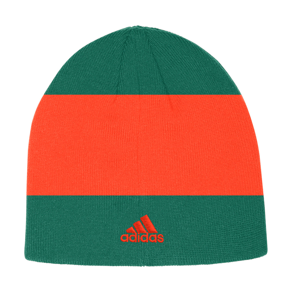 Miami Hurricanes adidas 2019 Coaches Beanie - Green/Orange