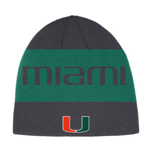 Miami Hurricanes adidas 2019 Coaches Beanie - Black/Green