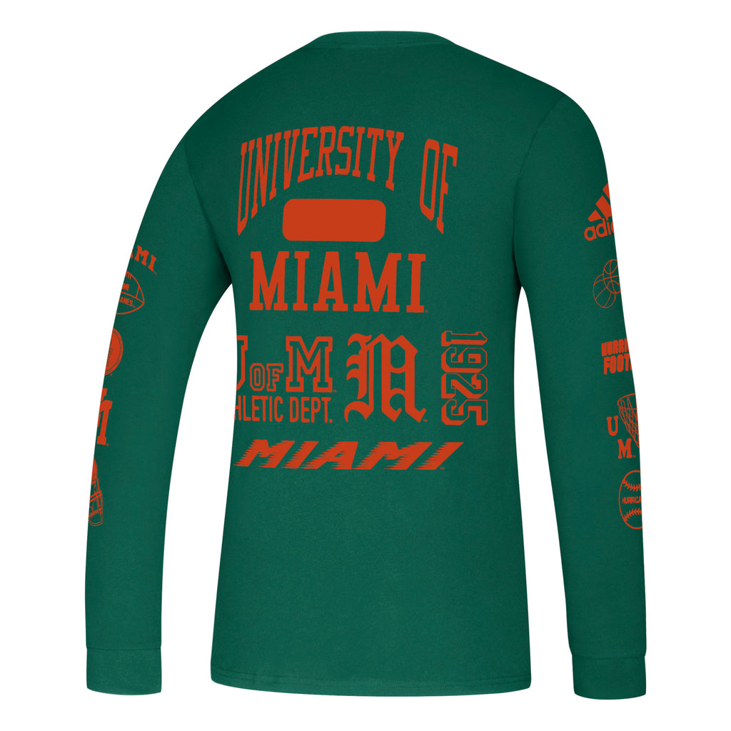 Miami Hurricanes 2019 Thrift Store Special Amplifier Long Sleeve Tee - Green