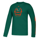 Miami Hurricanes adidas Youth L/S Amplifier Locker Football - Green
