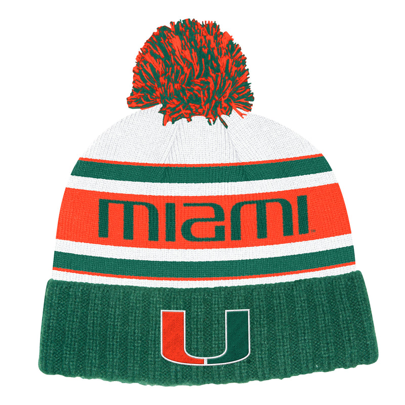 Miami Hurricanes adidas 2019 Head Name Cuffed Knit Pom