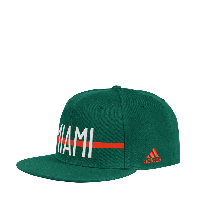 Miami Hurricanes adidas 2019 Middle Bar Flat Visor Flex Hat